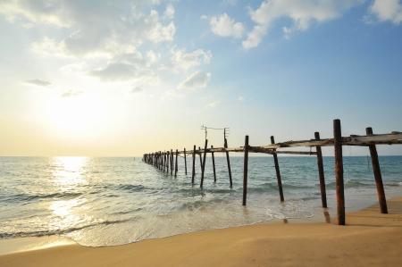 wooden fisherman bridge, pang-nga Thailand Stock Photo - 17594899