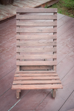 chair on wooden deck photo