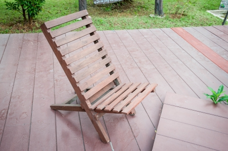chair on wooden deck