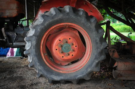 old tractor wheel photo
