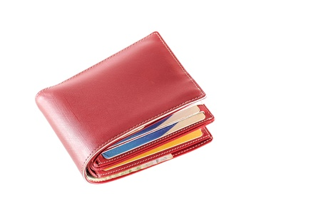 red leather wallet on white
