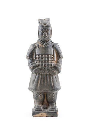 Ancient terracotta sculptures of Chinese warrior on white background photo