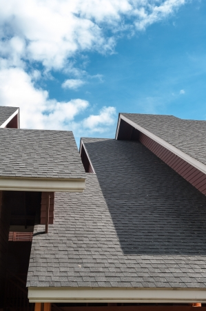 flashing: shingles roof, contemporary style Stock Photo