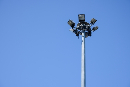spotlights post with blue sky  Stock Photo - 18630844