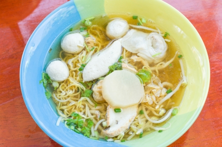 Thai Noodle Soup with fish ball  photo