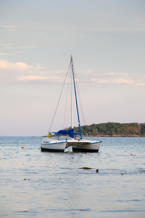 sailing boat in twilight
