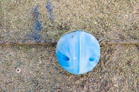 beach buoy: blue buoy on a beach