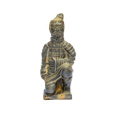 Ancient terracotta sculptures of Chinese warrior on white background