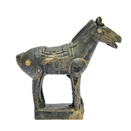 Ancient terracotta sculptures of Chinese warrior horse on white background