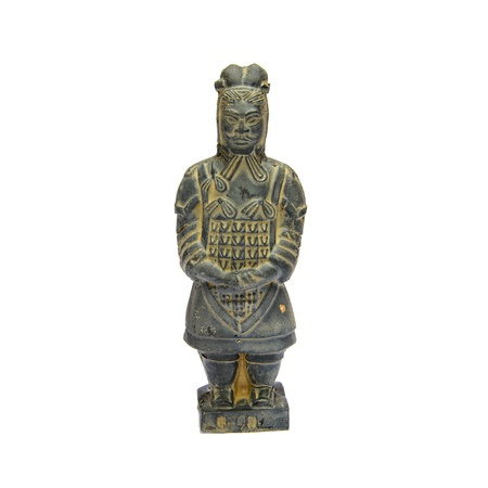 imperialism: Ancient terracotta sculptures of Chinese warrior on white background