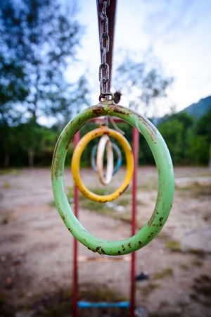 Climbing Rings In A Playground   photo