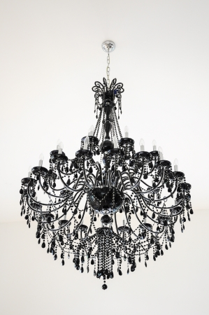 black chandelier on white ceiling Stock Photo - 19496012