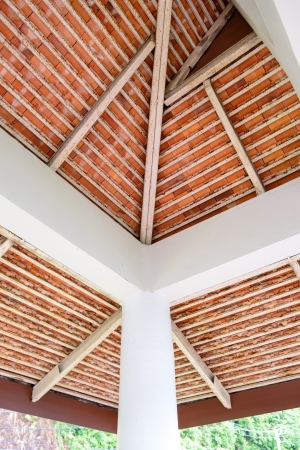 rusty roof structure to support ceramic clay tile  photo