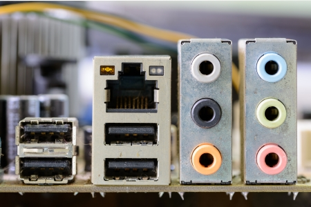 back panel connectors of the modern computer motherboard  photo