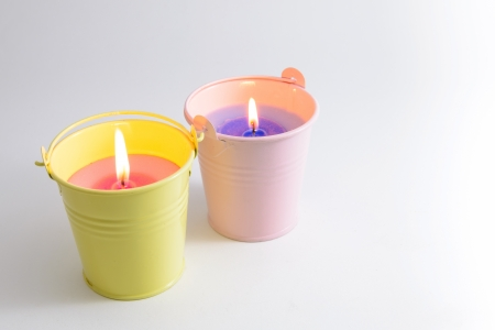 Citronella candle, candle in small bucket  Stock Photo
