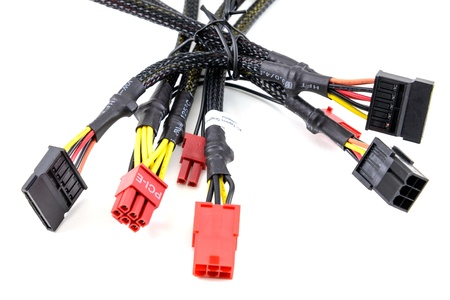 Computer connection plugs on white background