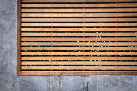 wooden louver and cement wall  Stock Photo - 20912690