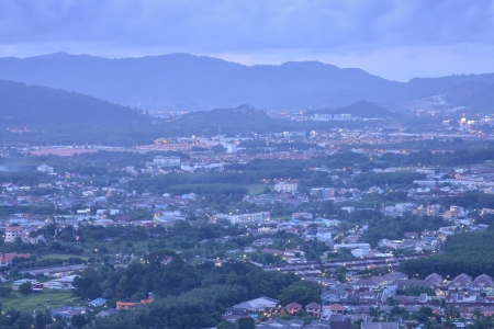 viewpoint on hill see to phuket town in twilight time, phuket Thailand  photo