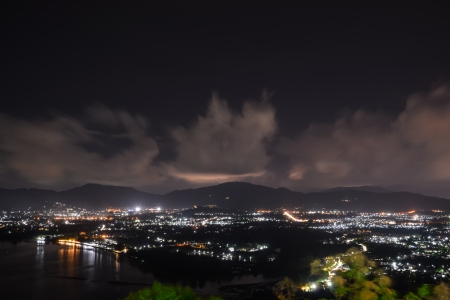 viewpoint on hill see to phuket town in night time, phuket Thailand  photo