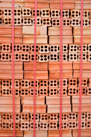 clay brick stored for building construction  photo