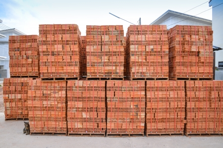 clay brick stored for building construction Stock Photo - 22412717