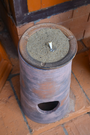 clay ceramic bin and ashtray  photo