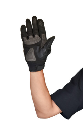 Motorcycle glove and hand signal slow down or stop isolated on white background