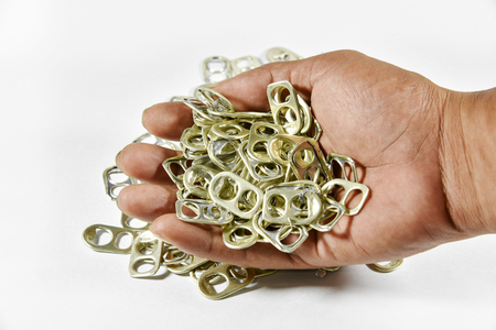Ring pull aluminum of cans on hand