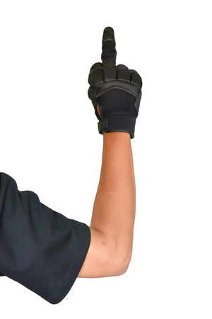 Motorcycle glove and hand signal, dispraise sign by finger hand isolated on white background