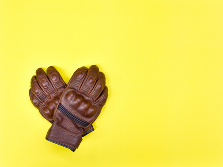 Leather gloves for riding a motorcycle Stock Photo