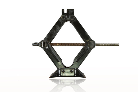 black manual jack for car lifter isolated on white with reflected shadow
