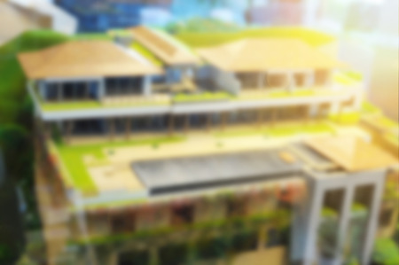 a blurred defocus of architectural model, dream house concept Stock Photo