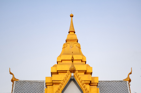 golden roof top of contemporary Thai public pavilion architecture