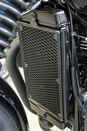 close up of motorcycle liquid cooled system