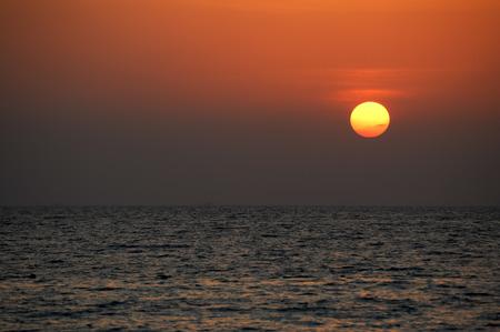 Beautiful Sunset at andaman sea, Sunset with the sea and wave Phuket Thailand