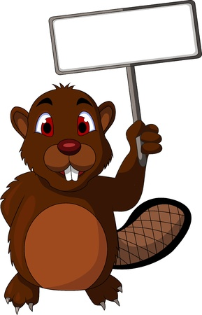 Beaver cartoon with blank sign Vector