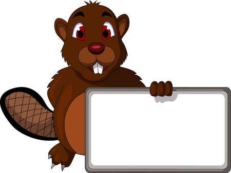 Beaver cartoon with blank sign