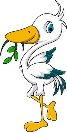 wader: cute heron cartoon eating grass
