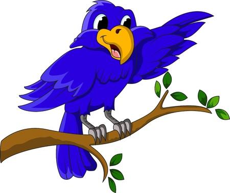 bluebird: cute blue bird cartoon character sitting on a branch