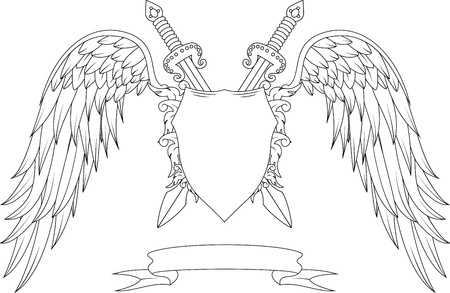 Composition with swords, wings, badge and ribbon Vector
