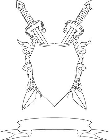 shield and sword: Composition with swords,  badge and ribbon