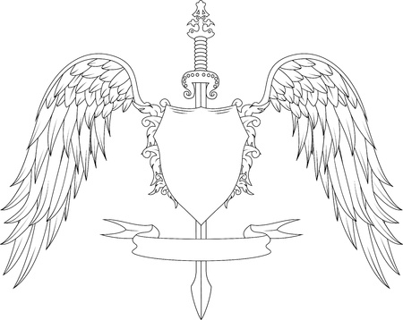armorial: Composition with swords, wings, badge and ribbon