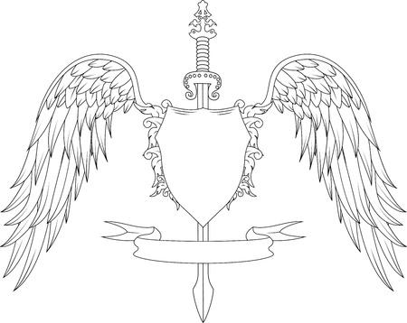 hanedan arması: Kılıç, kanat, rozet ve kurdele ile Kompozisyon Çizim