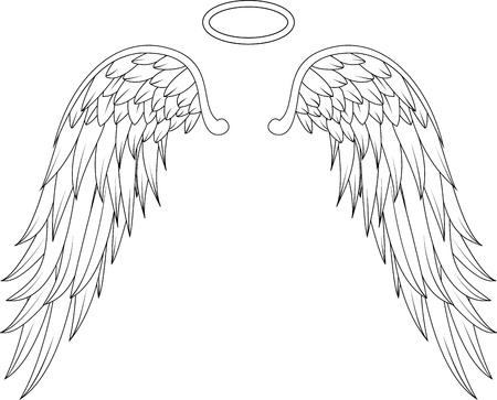 engel tattoo: Fl�gel Engel Tattoo-Design Illustration