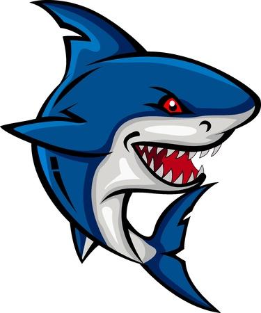 shark cartoon: angry shark cartoon Illustration
