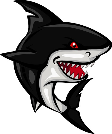 cartoon shark: angry shark cartoon Illustration