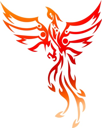 ancient bird: phoenix tattoo tribal