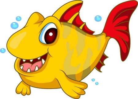 cute yellow fish cartoon Illustration