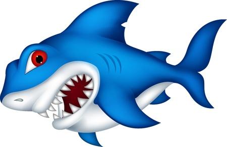 killer waves: angry shark cartoon Illustration