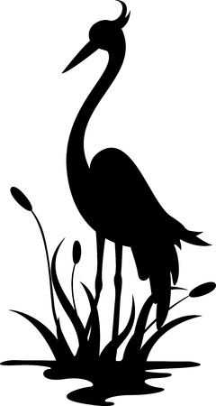 beauty heron silhouette Vector